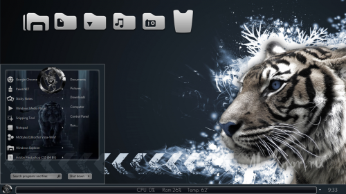 Tiger blue theme for Windows 7