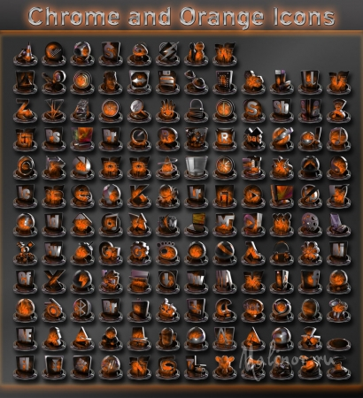 Chrome and Orange Icons Pack