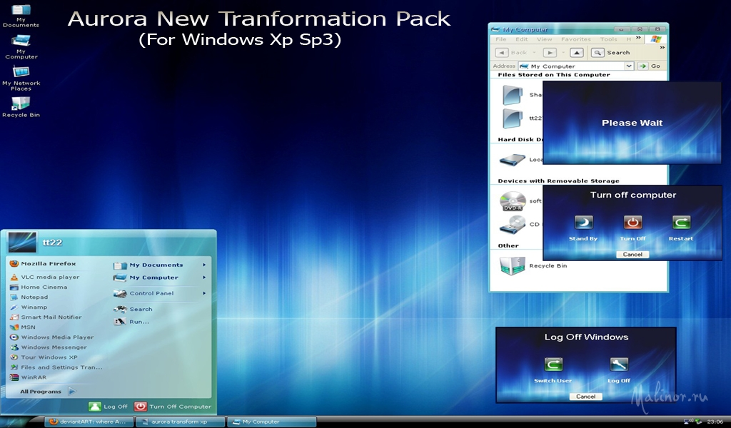 Aurora new transformation pack - Тема для Windows XP