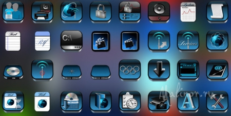 Button Up Iconpackager in blue tones